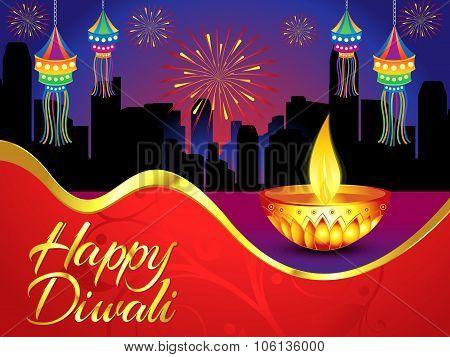 Happy Diwali Background With Golden Deepak