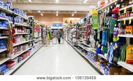 Coquitlam, BC, Canada - October 08, 2015 : One side of shopper at kitchen items corridor in Save on Foods. It is a regional chain of supermarkets located in British Columbia, Canada.