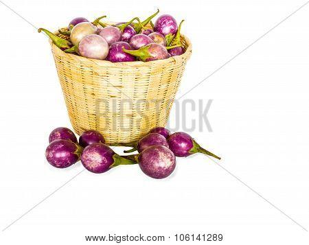Brinjal Purple Isolate On White Background