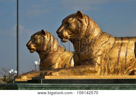 Tigers Statues In Samarkand