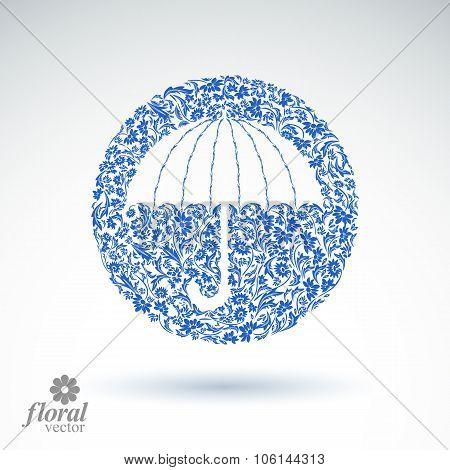 Beautiful Flower-patterned Umbrella. Stylized Accessory, Creative Parasol, Brolly Illustration