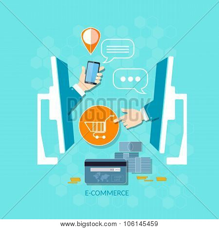 E-commerce internet shopping mobile shopping payment ordering online store delivery and product order vector concept poster