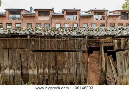 Old And Ramshackle Wooden Warehouses
