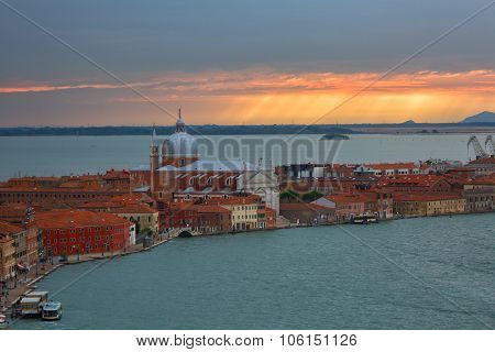 View From San Giorgio Maggiore Belltower On Giudecca Island On A Sunset, Venice, Italy