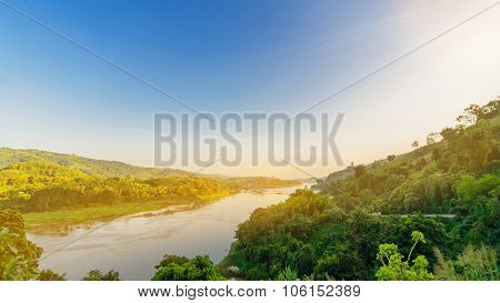 Mekong River And Mountains Landscape Overlook From View Point In Chiang Rai, Thailand.