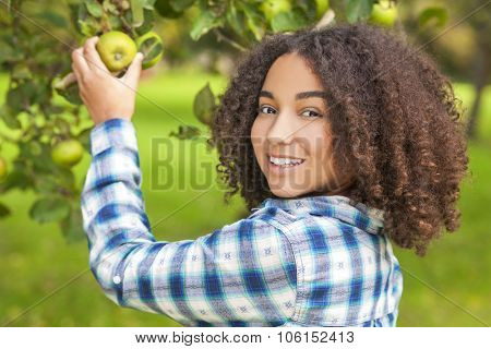 Outdoor portrait of beautiful happy mixed race African American girl teenager female child picking an organic green apple in an orchard and smiling with perfect teeth