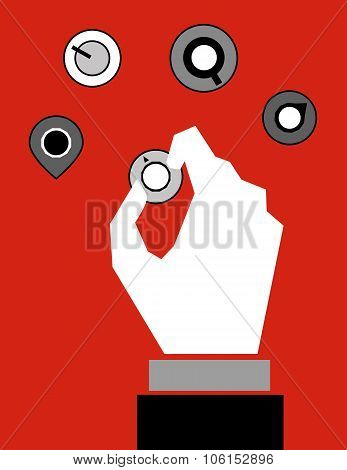 A hand adjusting the control switches and knobs to make changes and affect results poster