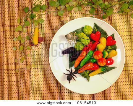 Sweetmeat, deletable imitation fruits (Kanom Look Choup thai style) poster