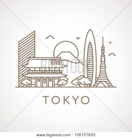 Trendy line illustration of Tokyo with different famous buildings and places of interest. Modern vector line-art design.