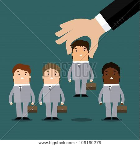 Businessman hand hand holding cute character of young businessman in business concept of personnel selection, hiring or recruitment. Human resources concept. Flat design vector illustration. poster