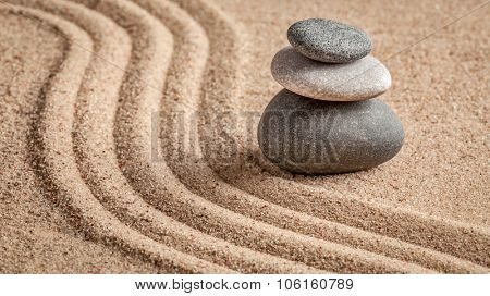 Japanese Zen stone garden - relaxation, meditation, simplicity and balance concept  - panorama of pebbles and raked sand tranquil calm scene poster