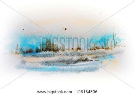 Watercolor Sketch Of Winter Landscape.