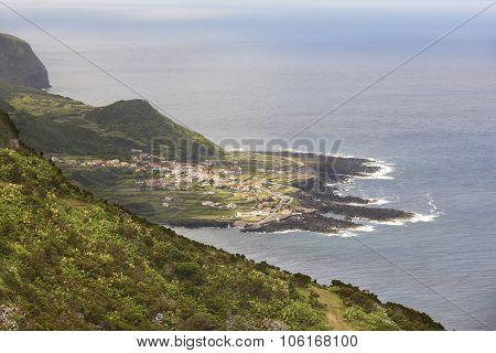 Azores Coastline Landscape In Faja Grande, Flores Island. Portugal