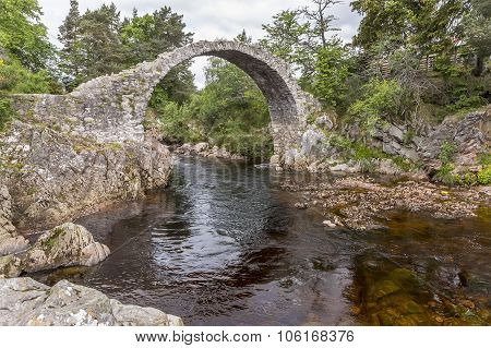 A view of the old packhorse bridge at Carrridge in the Scottish highlands