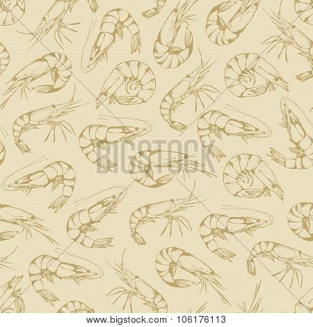 Seamless Pattern With Hand Drawn Shrimps On A Beige Background