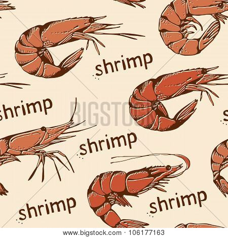 Seamless Food Pattern With Hand Drawn Shrimps On A Beige