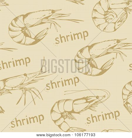 Seamless Food Background With Hand Drawn Shrimps