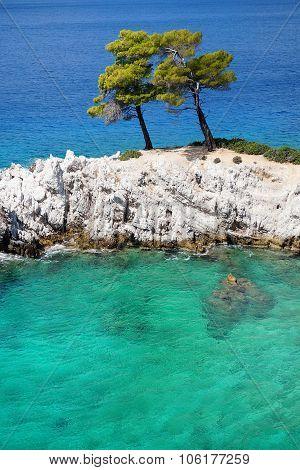 Turquoise Sea Waters At Skopelos Island