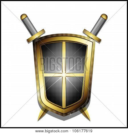 Golden shield and two crossed swords