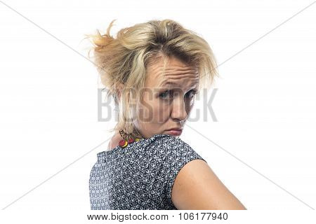 Portrait of provoking woman on white background