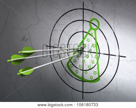 Holiday concept: arrows in Party Hat target on wall background