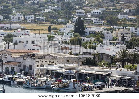 Picturesque Of Island Of Paros View From The Ship In Paros Island, Cyclades, Greece.