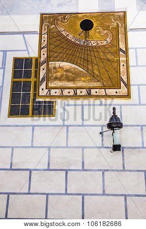 Historical Sun Clock-cesky Krumlov,czech Republic