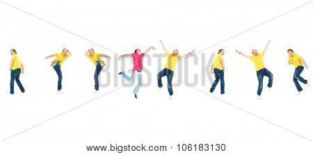Hurray Men Isolated over White