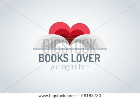 Books heart vector logo. Book and heart icons. Books open. Books isolated on white. Book logo. Books love. Back to school books. Education books, university, books symbol, book stack. Book vector