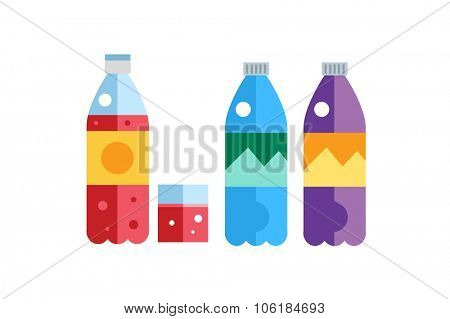 Water, soda and juice or tea bottles vector Illustration. Set of vector bottles icons. Clean water, fresh juice, nature drinks. Water bottle isolated. Soda bottle vector icon. Drinks bottles