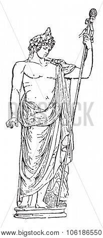Bacchus, vintage engraved illustration. Dictionary of words and things - Larive and Fleury - 1895.