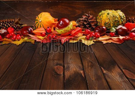 Autumn Decoration On Wooden Background