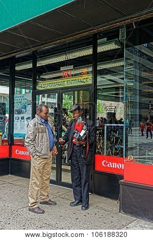 Louis Mendes In Front Of Canon Store In Manhattan