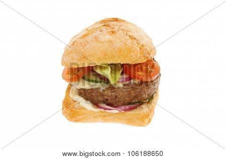 Cheese burger with salad in a sourdough bun isolated against white poster