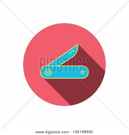 Multitool knife icon. Multifunction tool sign.