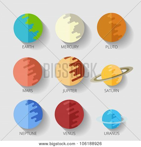set of the nine planets of the solar system in a cartoon style flat icon with shadow. Mars, Earth, Jupiter, Venus, Saturn, Neptune poster