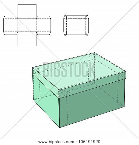 Vector Illustration of Gift craft Box for Design, Website, Background, Banner. Folding package Template. Fold pack with die line for your brand on it poster