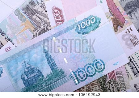 Dollars euros russian roubles - Money of the world poster