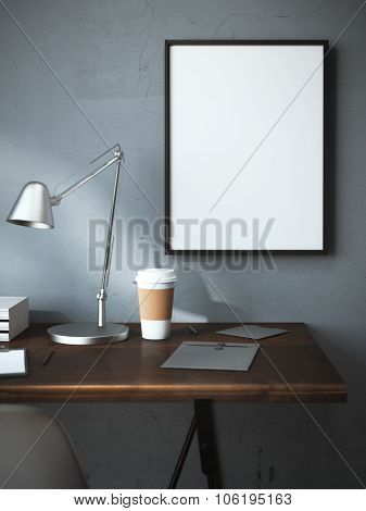 Workplace with cup and blank frame. 3d rendering
