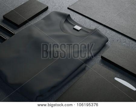 Dark mockup with blank t-shirt