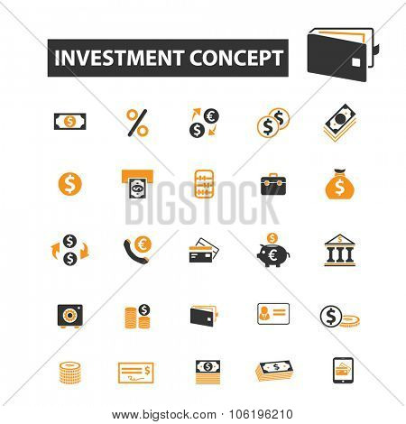 investment, bank, credit, money icon & sign concept vector set for infographics, website