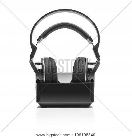 Wireless radio headphones. Isolate on white background. poster