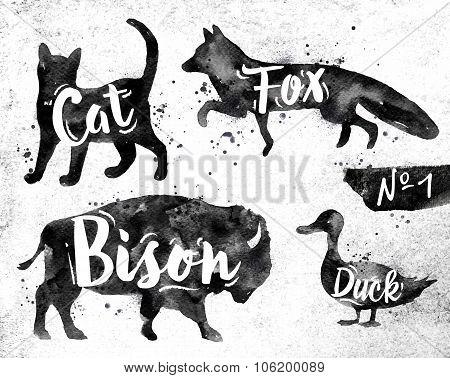Painted Black Animals Deer
