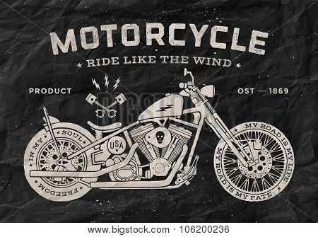 Vintage race motorcycle old school style. Black and white poster, print for t-shirt. Vector illustra