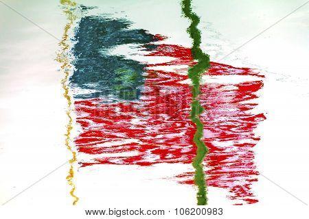 American Flag  Reflection Westport Grays Harbor Washington State