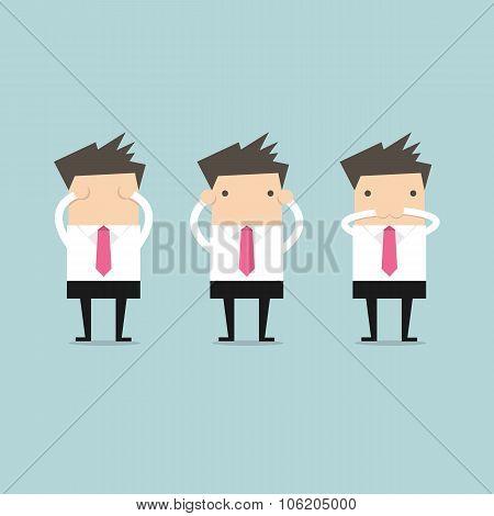 Businessman like three little monkeys 3 close