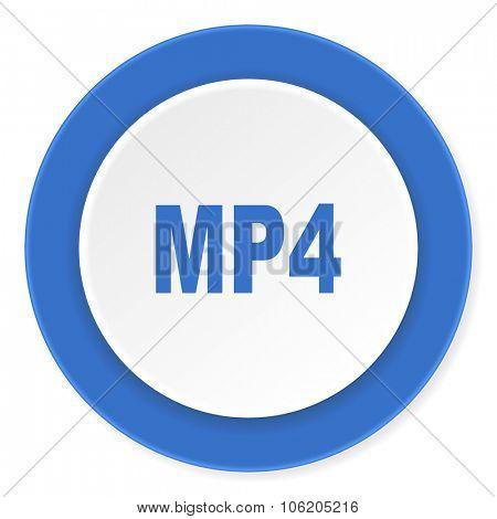 mp4 blue circle 3d modern design flat icon on white background