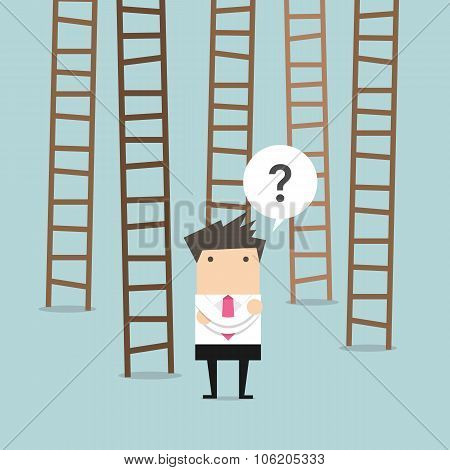businessman choices ladder to success