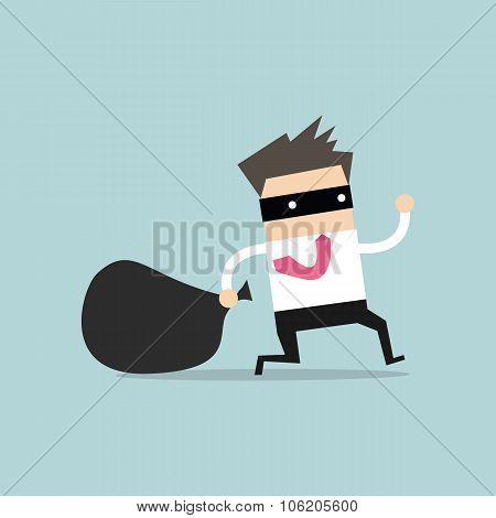 Businessman in burglar mask flees with stolen bag