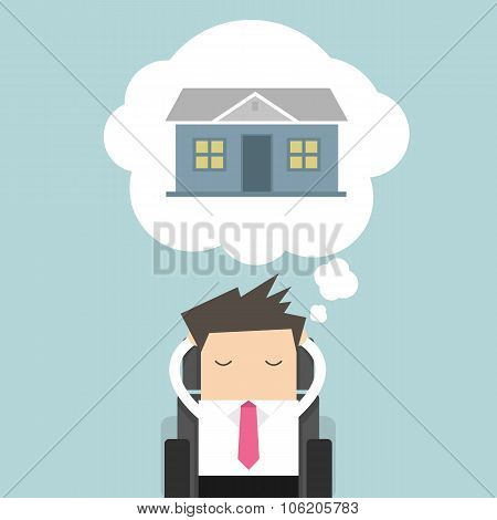 Businessman is thinking about house